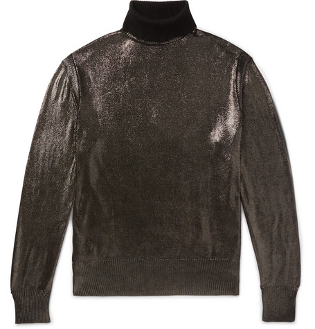METALLIC SILK ROLLNECK SWEATER from MR PORTER