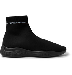 Prada America's Cup Stretch-Knit High-Top Sneakers