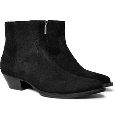 Saint Laurent - Lucas Brushed-Suede Boots