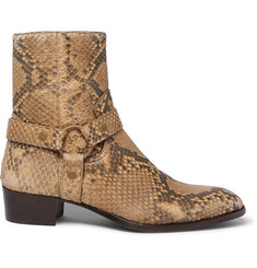 Saint Laurent Wyatt Python Harness Boots