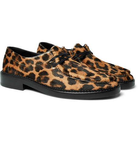 Thibault Leopard-print Calf Hair Derby Shoes - Black
