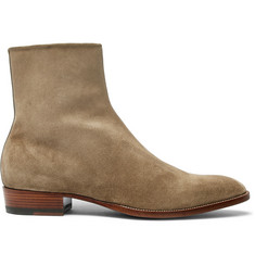 Saint Laurent Wyatt Brushed-Suede Boots