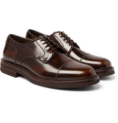 Brunello Cucinelli - Burnished-Leather Cap-Toe Derby Shoes