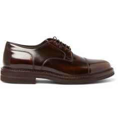 Brunello Cucinelli Burnished-Leather Cap-Toe Derby Shoes