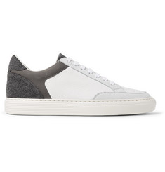 Brunello Cucinelli Urano Nubuck, Felt and Full-Grain Leather Sneakers