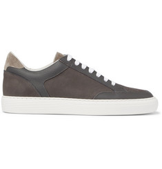 Brunello Cucinelli Urano Full-Grain Leather-Trimmed Nubuck Sneakers