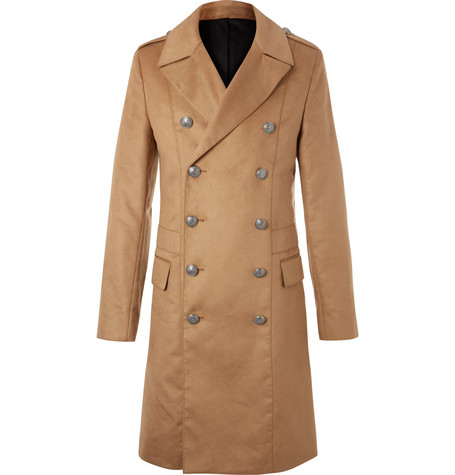 Balmain – Slim-fit Double-breasted Faux Suede Coat – Camel