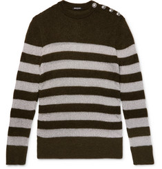 Balmain Slim-Fit Buttoned Striped Metallic Knitted Sweater