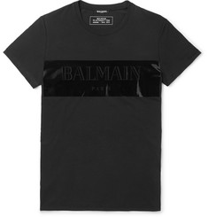 Balmain Logo-Detailed Vinyl-Trimmed Cotton-Jersey T-Shirt