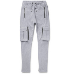 Balmain Slim-Fit Tapered Mélange Fleece-Back Cotton-Blend Jersey Cargo Sweatpants