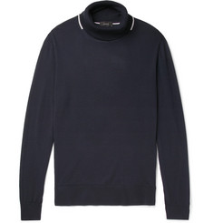 Joseph Contrast-Tipped Merino Wool Rollneck Sweater
