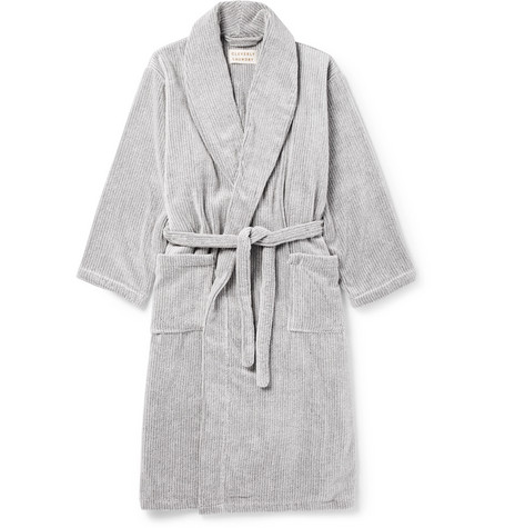 CLEVERLY LAUNDRY Striped Cotton-Terry Robe in Gray
