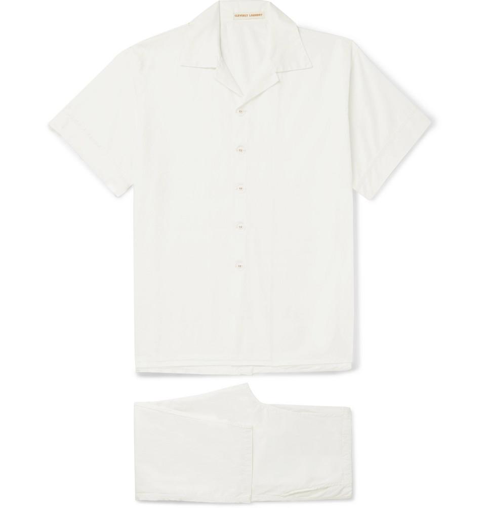Washed-cotton Pyjama Set - Off-white