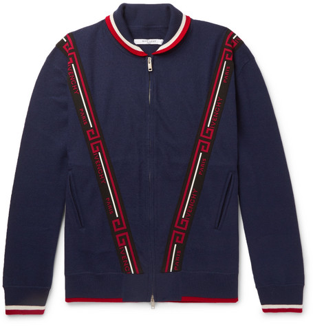 Logo-jacquard Wool Bomber Jacket - Navy