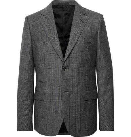 Stella Mccartney Grey Slim-fit Prince Of Wales Checked Wool Suit Jacket - Charcoal