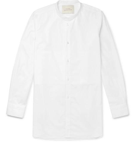 STUDIO NICHOLSON Cortina Grandad-Collar Cotton-Poplin Shirt