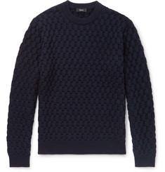 띠어리 Theory Marcos Slim-Fit Cable-Knit Merino Wool Sweater,Navy