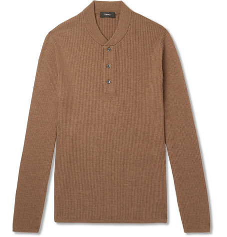 Ribbed Merino Brown fit Theory Slim Sweater Wool blend Py8fRB4a