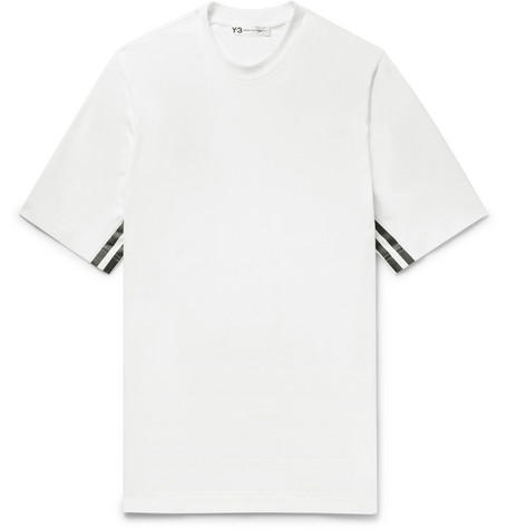 Y-3 Printed Cotton-blend Jersey T-shirt - White us6mEdQU6N