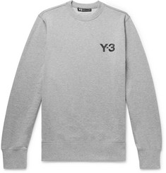 Y-3 Logo-Print Mélange Loopback Stretch-Cotton Sweatshirt