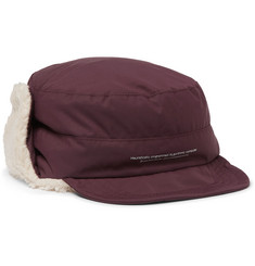 Undercover Faux Shearling-Trimmed Printed Nylon Trapper Hat