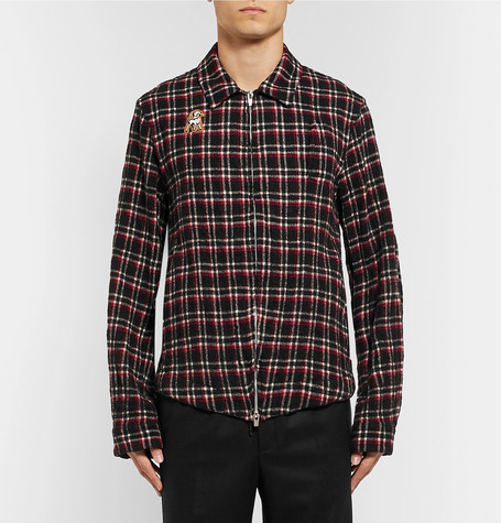 Appliquéd Checked Wool Fleece Shirt Jacket by Undercover