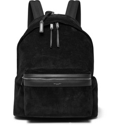Saint Laurent City Leather-Trimmed Corduroy and Canvas Backpack