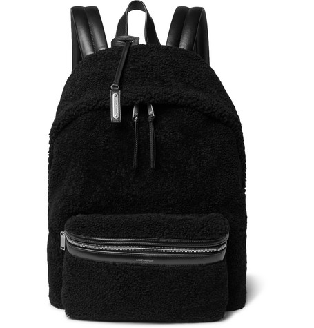City Leather Trimmed Fleece And Canvas Backpack by Saint Laurent