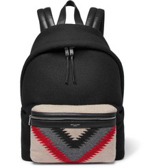 Saint Laurent City Leather-Trimmed Patterned Felt and Canvas Backpack
