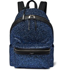 Saint Laurent City Leather-Trimmed Sequinned Canvas Backpack