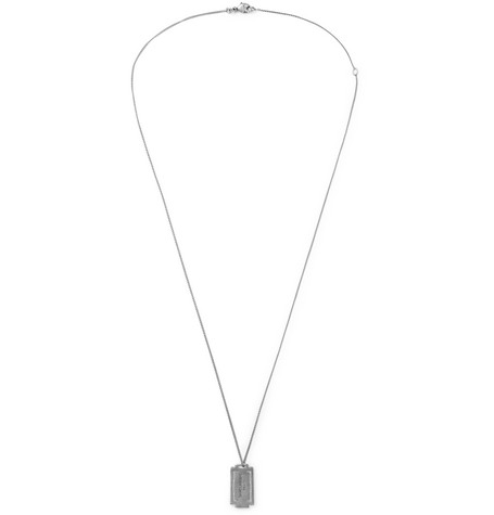 Logo Debossed Burnished Silver Tone Necklace by Saint Laurent