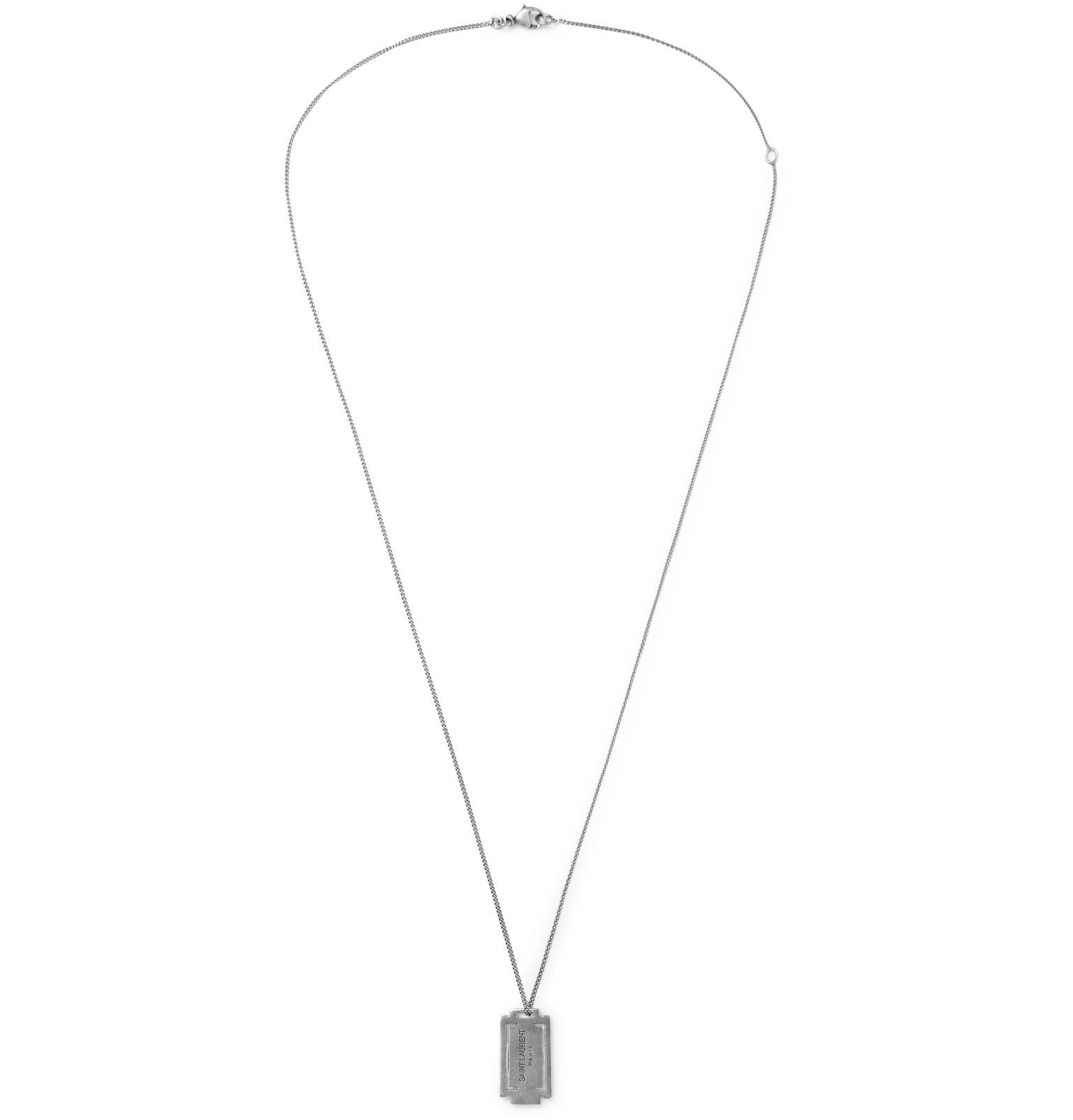 Saint Laurent Logo-debossed Burnished Silver-tone Necklace - Silver T8J9V6