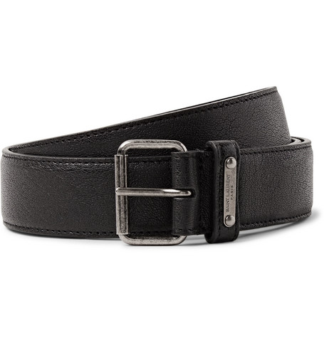 3cm Black Pebble Grain Leather Belt by Saint Laurent
