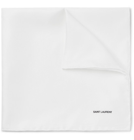 Printed Silk Twill Pocket Square by Saint Laurent