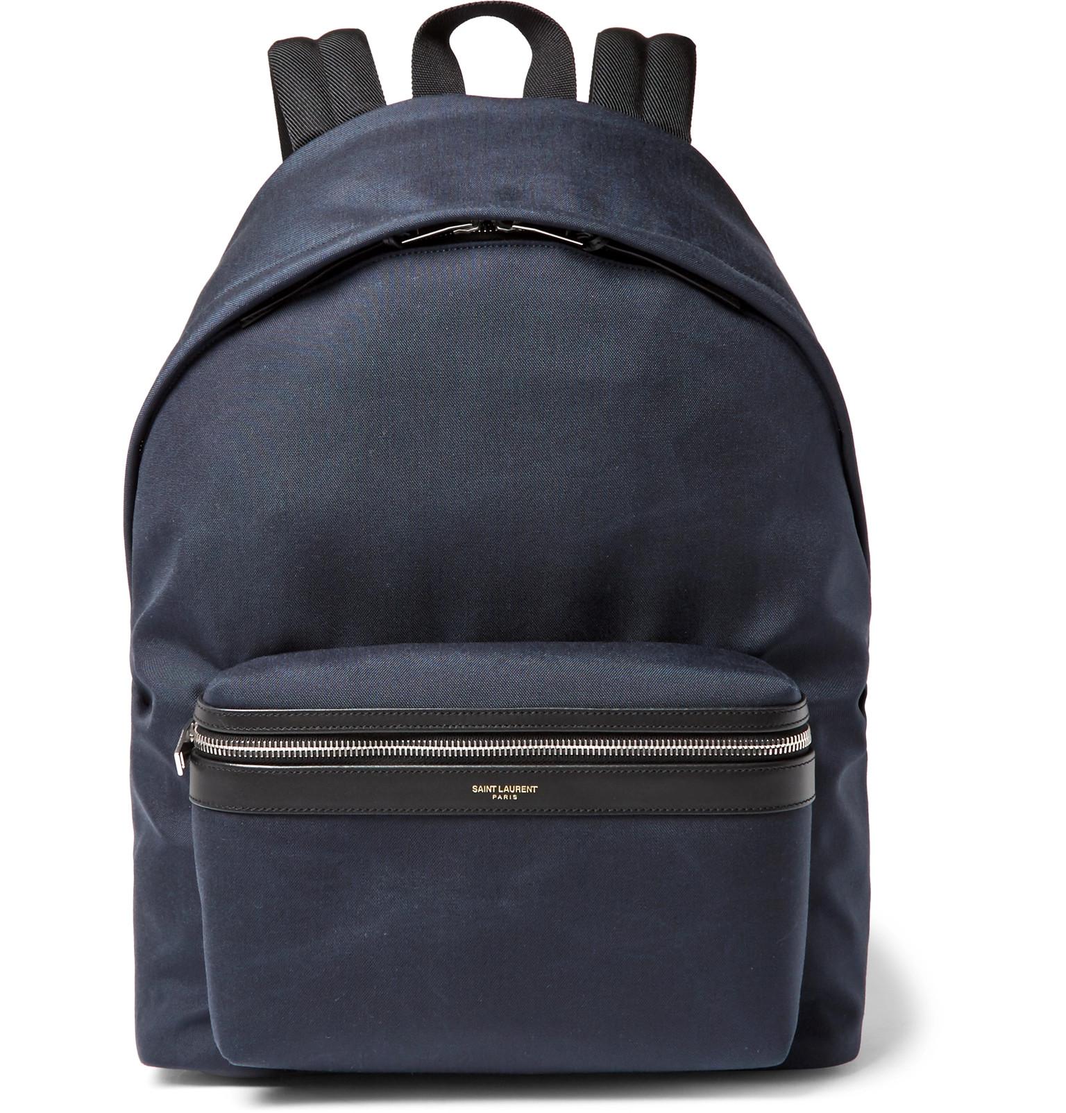 Saint Laurent - City Leather-Trimmed Canvas Backpack 750d6c43977