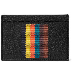 Paul Smith - Embroidered Striped Full-Grain Leather Cardholder