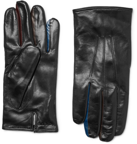 Color-block Leather Gloves