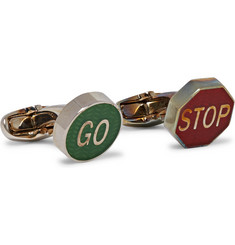 Paul Smith - Road Sign Enamelled Silver-Tone Cufflinks