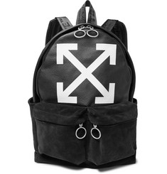 Off-White Logo-Print Textured-Leather and Suede Backpack