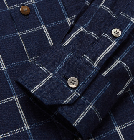 Checked Cotton Flannel Shirt by Blue Blue Japan