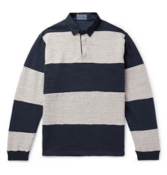 Blue Blue Japan Twill-Trimmed Striped Cotton Polo Shirt