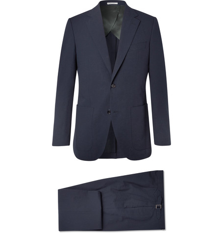 HUSBANDS Navy Slim-Fit Cotton-Seersucker Suit