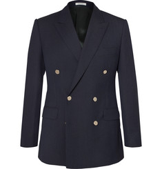 Husbands - Navy Slim-Fit Double-Breasted Wool Blazer