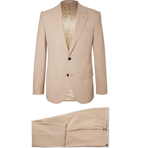 HUSBANDS Cream Slim-Fit Wool Suit