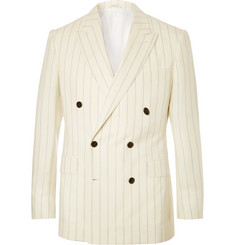 Husbands Cream Slim-Fit Pinstriped Double-Breasted Wool Blazer