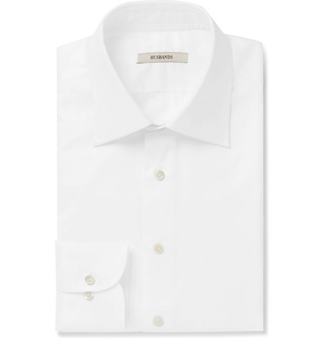 HUSBANDS White Cotton-Poplin Shirt
