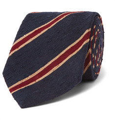 Husbands 8cm Striped Slub Silk-Shantung Tie