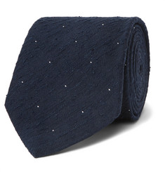 Husbands 8cm Polka-Dot Slub Silk-Shantung Tie