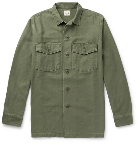 ORSLOW Slub Cotton Shirt Jacket - Army Green
