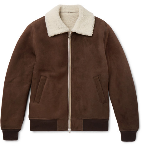 Shearling Bomber Jacket - Brown